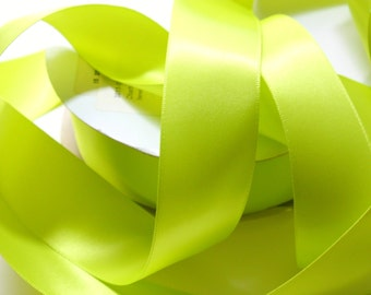 Satin RIBBON - 1 1/2 Inch x 5 Yards - Chartreuse