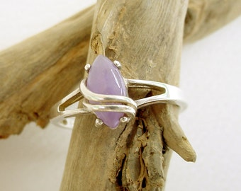 Avon Purple Jade Lined Marquise Sterling Silver 925 Ring 10 (2.7g)
