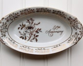 Clearance Sale - 50th Anniversary Dish - Porcelain Bowl - Fine Porcelain - Japan - White with Gold - AB193