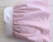 Vintage Pink Rosebud Crib Skirt - Cottage Chic Nursery - Baby Girl