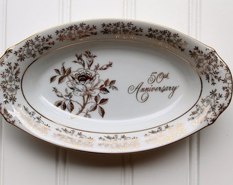 50th Anniversary Dish - Porcelain Bowl - Fine Porcelain - Japan - White with Gold - AB193