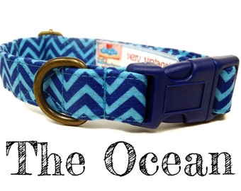 "Nautical Dog Collar - Blue Dog Collar - Organic Cotton Dog Collar - Antique Brass Hardware - ""The Ocean"""