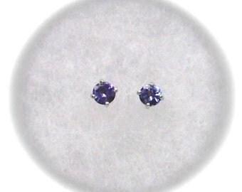 Tanzanite 4mm Gemstones in 925 Sterling Silver Stud Earrings