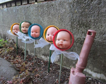 YELLOW upcycled baby doll stick