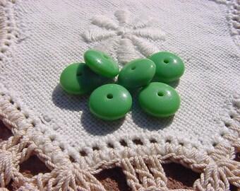Summer Green Rondelles Vintage Glass Beads