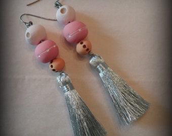 Silver Tassel Earrings, Bohemian, Pastel Shades, Handmade, Hand Painted, Clay, Original, Dotted