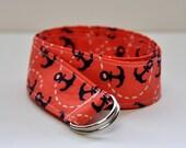Coral and Navy Nautical D Ring Belt, Teen Belt, Men's Belt, Women's Belt, Preppy Belt, Anchors