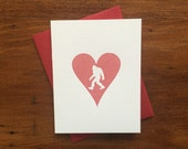 Heart: Sasquatch, single letterpress card