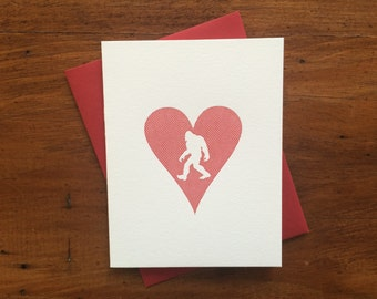 Heart: Sasquatch, single letterpress card
