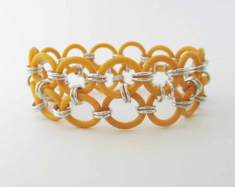 Stretchy Yellow Chainmaille Bracelet Handmade