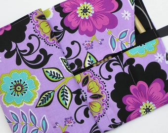 circular knitting needle case - double pointed knitting needle case - knitting organizer -  floral on purple