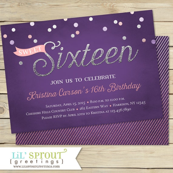 sweet 16 birthday invitation, sweet sixteen birthday invitation, Birthday invitations