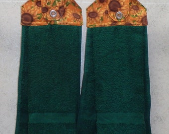 SET OF 2 - Hanging Cloth Top Kitchen Hand Towels - Sunflower Print, Forest Green Towels