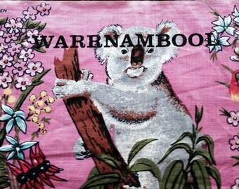 Vintage Australian Koalas and Wildflowers Teatowel