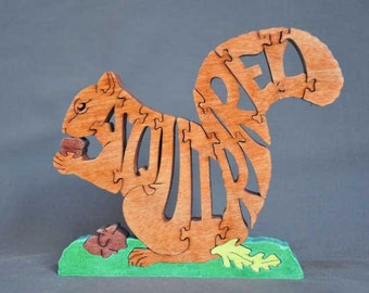 Squirrel with acorns Black, Gray or  Red  Animal Puzzle Wooden Toy Hand  Cut with Scroll Saw