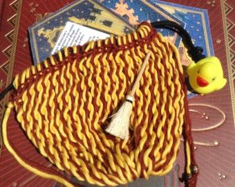 Handwoven Sprang Bag Scarlet Gold Rennfair Reenactors Cosplay