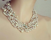 Pearl Necklace, Wedding Pearl Necklace, Bridal Necklace Chunky,  Pearl Bridesmaids Necklace, Wedding Jewellery, DOREN