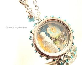 Frozen Charlotte Glass Locket Necklace Frozen Charlotte Doll Pendant Assemblage