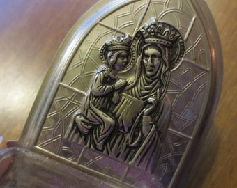 SALE Vintage Holy Water Font Silver Glass St Anne Virgin Mary