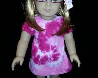 SALE American Girl Hand Dyed Pink Tye Dye  Doll Dress