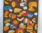 Vintage Linen Tea Towel - Cheese Cheese Cheese - Designer Lois Long