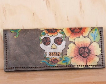 Biker Wallet - Leather Wallet - Handmade in Vesa pattern with sugar skull - day of the dead - Chain Wallet - Zippered Wallet - Wristlet