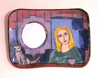 Mirror Handpainted Terra Cotta  - Girl with a Cat