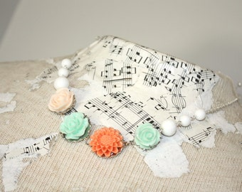 Coral and aqua necklace, resin flower cabochon and rosary style glass bead necklace, bridesmaid summer wedding jewelry