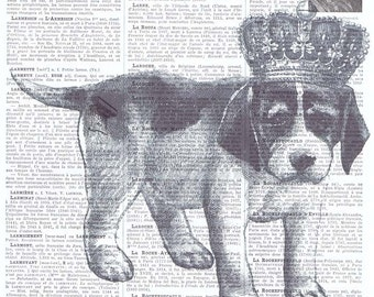 Dog.puppy,Crown,Antique Book Page.King/Queen,animal,French text,Pairs.deal.deco.BIRTHDAY.child.art.pet.mixed media.altered.handmade