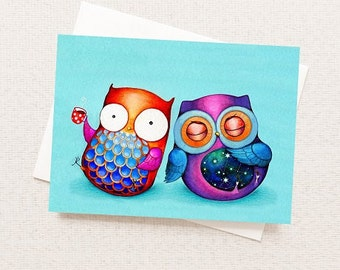 Funny Card - Funny Greeting Card - Funny Animals Card - Happy Owl grumpy Owl - Cards with Humor - Office Humor Card - Funny Birthday Card