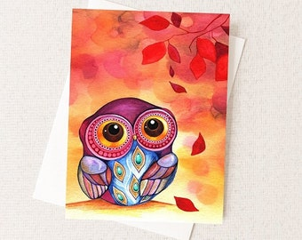 Owl First Fall Leaf - Autumn Watercolor Greeting Card - Happy Fall Card - Fall Leaves Card A2