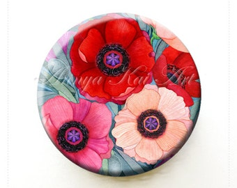 Poppy Flower Purse/Pocket Mirror - Collecticle Gift Art - Red and California Poppies