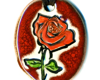 Red Rose Ceramic Necklace