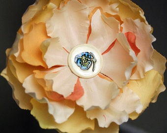 Pansy Flower in a Flower Hair Clip in Peach