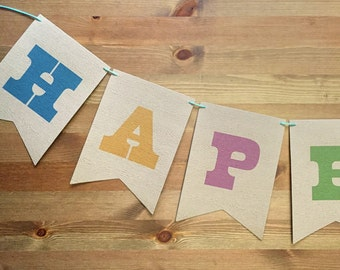 County Fair Party Garland, Faux-Bois Paper Part Banner 5x7 with personalized message, great for showers and birthday parties