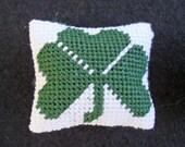 Shamrock Dollhouse Miniature Needlepoint Pillow, Dark Green on White