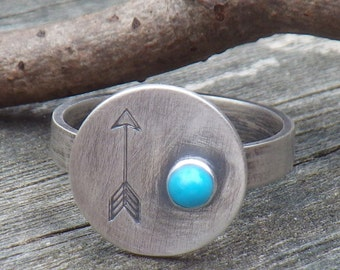 Arrow ring sterling silver sleeping beauty turquoise