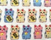 Japanese Fabric - Cotton Fabric -  1/2 Yard - Maneki Neko - Cream Fabric - Lucky Cat Fabric 110 cm x 50 cm (F144) Half Yard