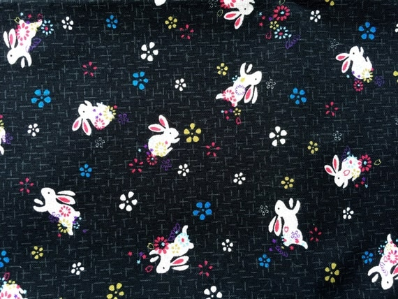 Japanese Fabric  Half Yard  Cute Beige Rabbits And Flowers - Black Fabric  110 cm x 50 cm (F86)