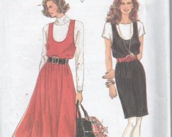 Womans Easy U Neckline Slim Full Skirt Jumper Sewing Pattern Size XXS to LG