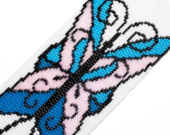 Butterfly Bracelet, Blue and Pink, Seed Beads, Beadwork, Cuff, Beaded, Gifts for Her, On Sale