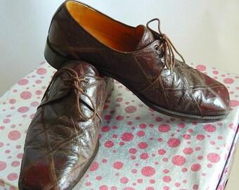 Vintage Men's HANDMADE Ostrich Shoes size 9 .5 m Eu 42.5 UK 9 David Eden PATCHWORK Brown Oxfords Spain