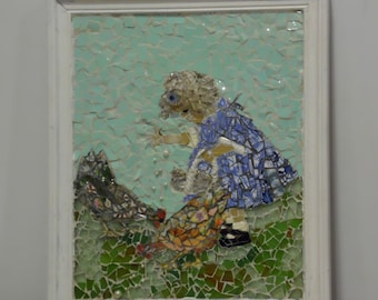 broken china stained glass mosaic portrait of a young girl feeding the chickens