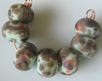Etched lampwork beads-multi color lampwork beads- SRA