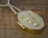 vintage Tabu godess Cameo locket perfume pendant goddess