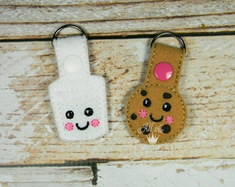 Milk and Cookies Key Fob - BFF Keychain for Best Friends