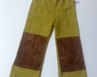 Handmade Barkcloth Boys Pants - Size 2 and 4 (2T and 4T)