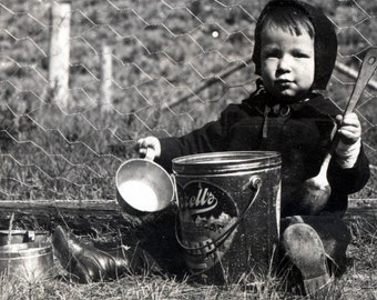 vintage photo Baby Playing Outdoors w LArd Bucket Cups & SPoons