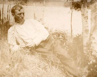 vintage photo Handsome Tan Man Lies in Grass Birch Trees Lake