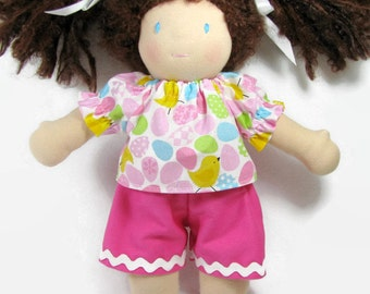 10 inch waldorf doll shorts outfit, doll clothes, LB size top and shorts, chicks and eggs top with pink shorts for your doll